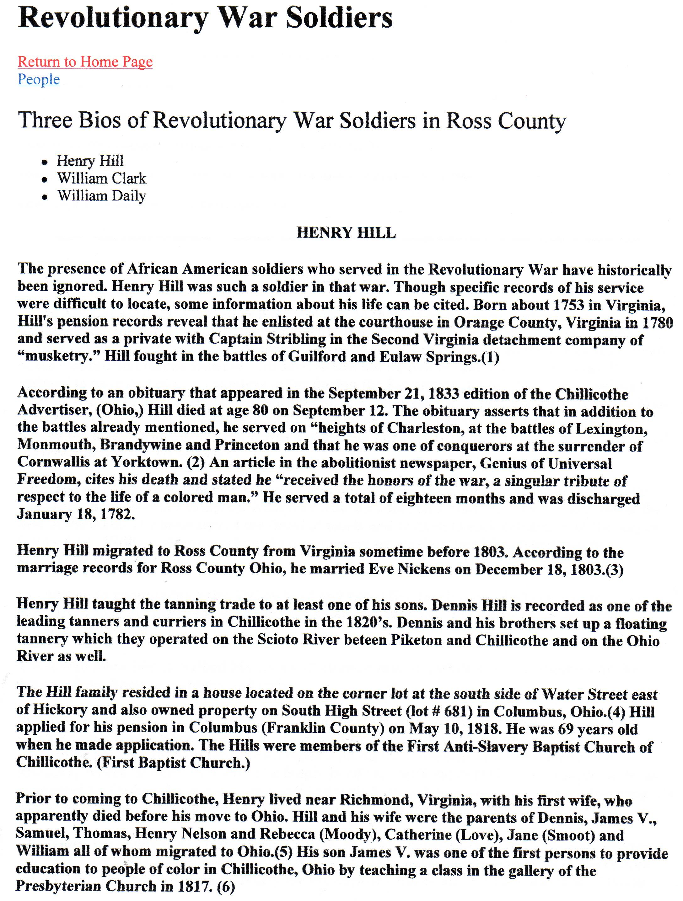Henry Hill of Ohio born 1753